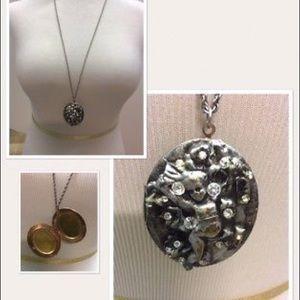 Gothic Victorian Cherub Locket Pendant Necklace